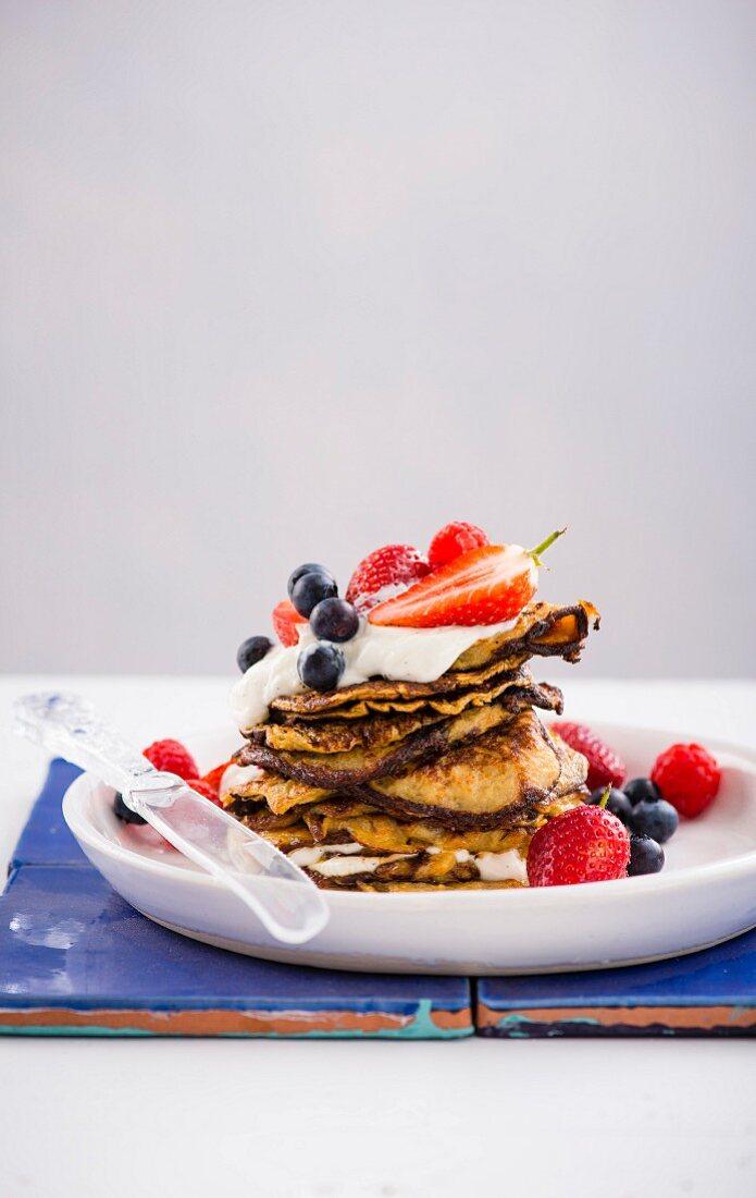 Banana crumpets with vanilla yoghurt and berries