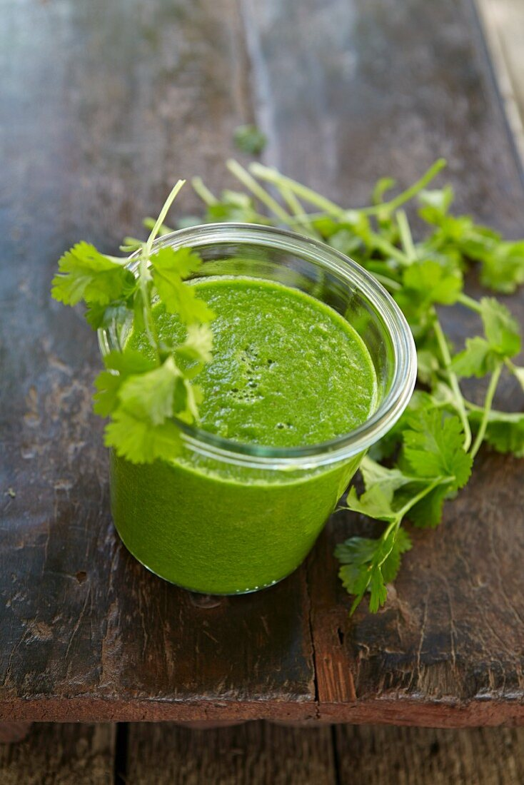 A coriander and passion fruit smoothie