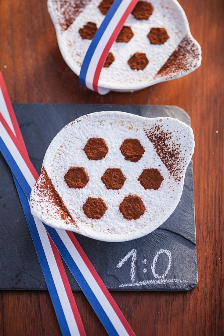 Creme Brulee with soccer ball design
