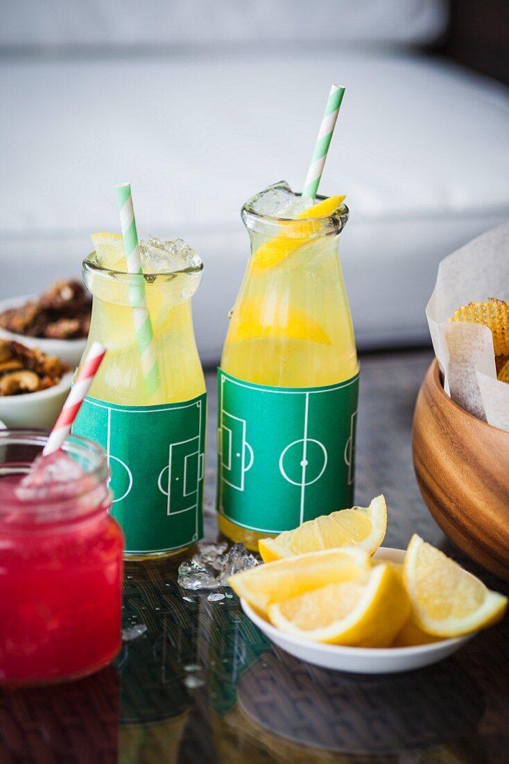 Lemonade in bottles