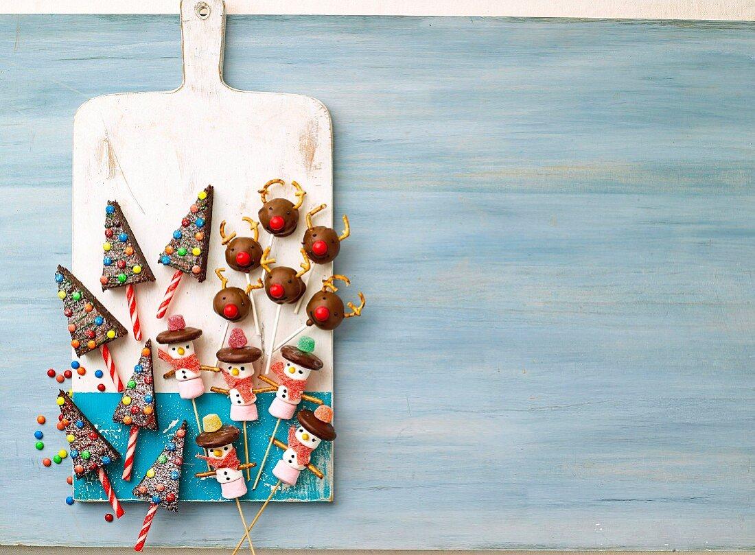 Christmas Tree Pops, Truffle Reindeer Pops & Marshmallow Snowmen Pops