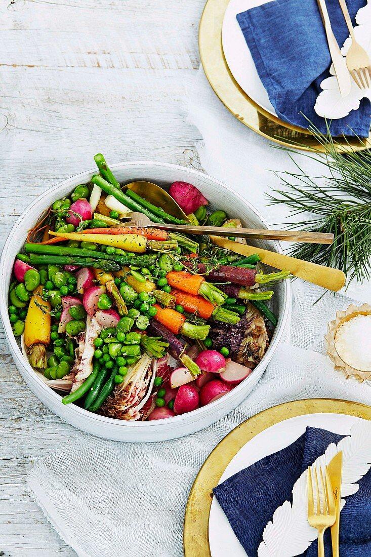 Braised summer vegetables