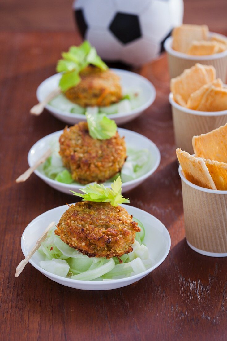 Quinoa patties with apple and cucumber salad
