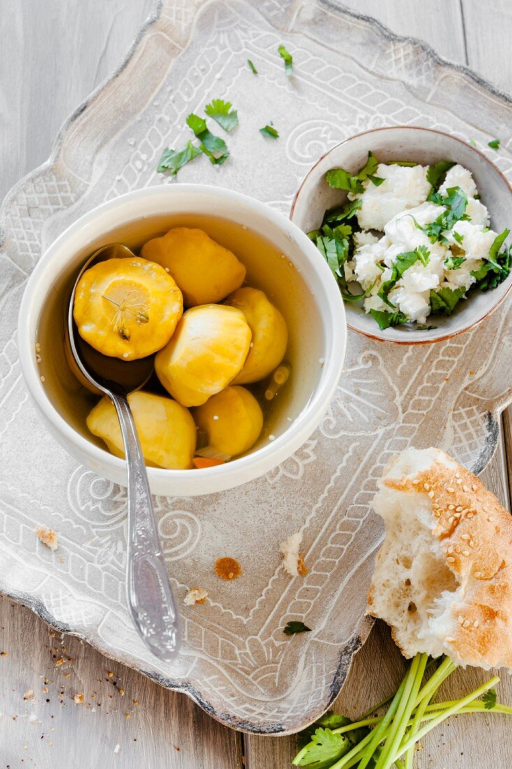 Preserved pattypan squash and herb cream cheese