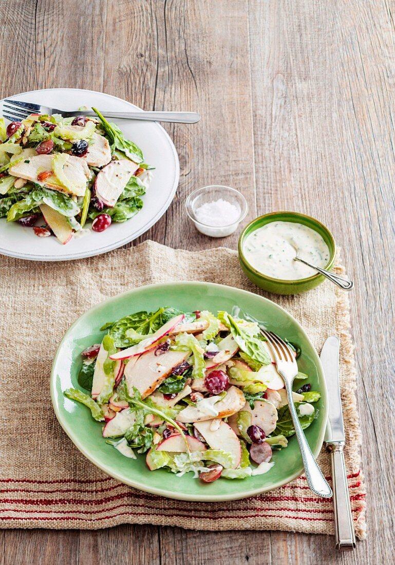 Creamy chicken waldorf salad