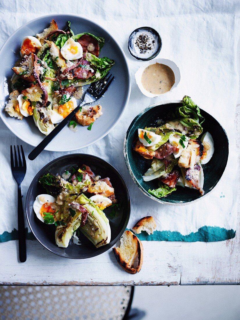 Grilled vegetables & grilled Caesar salad