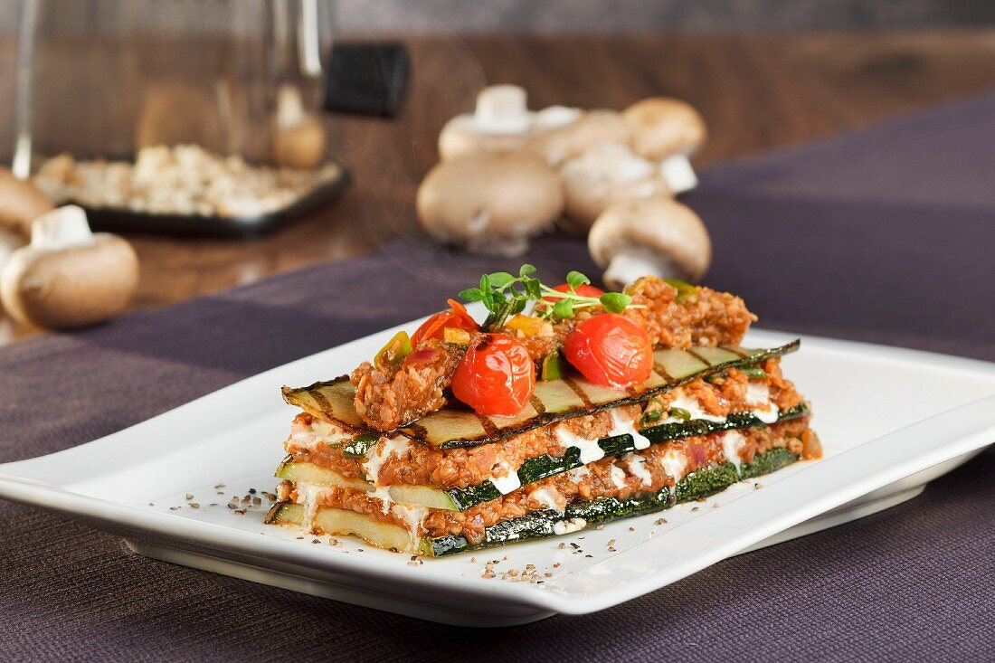 Mushroom and courgette lasagne