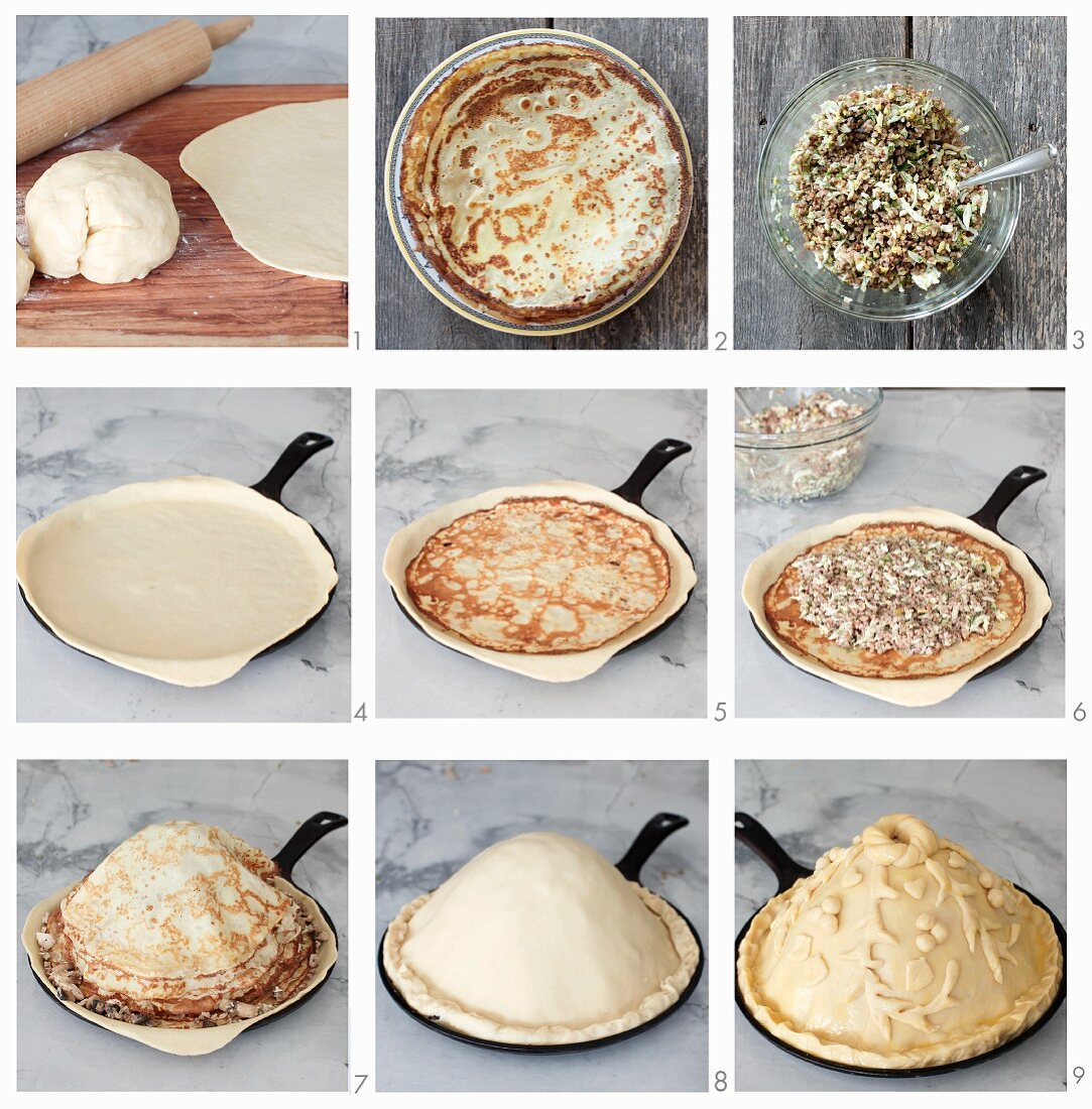 Kurnik (chicken pie with mushrooms, kasha and eggs, Russia) being made