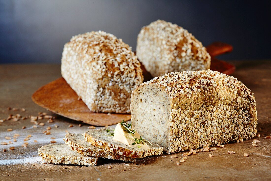 Chia and spelt bread with cream cheese and garden cress