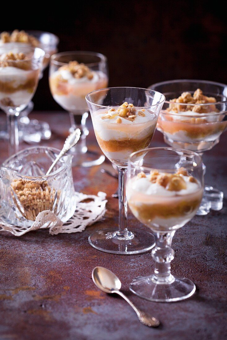 Rhubarb compote with quark and crunchy muesli