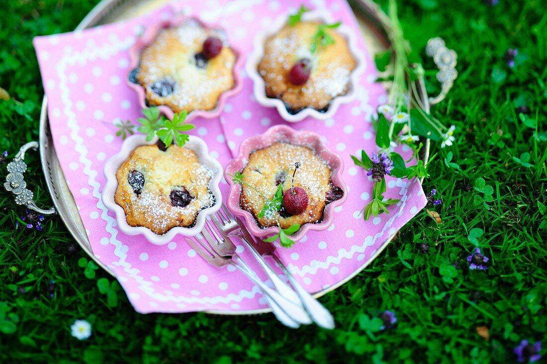 A tray of cherry tartlets in ramekins on a summer meadow
