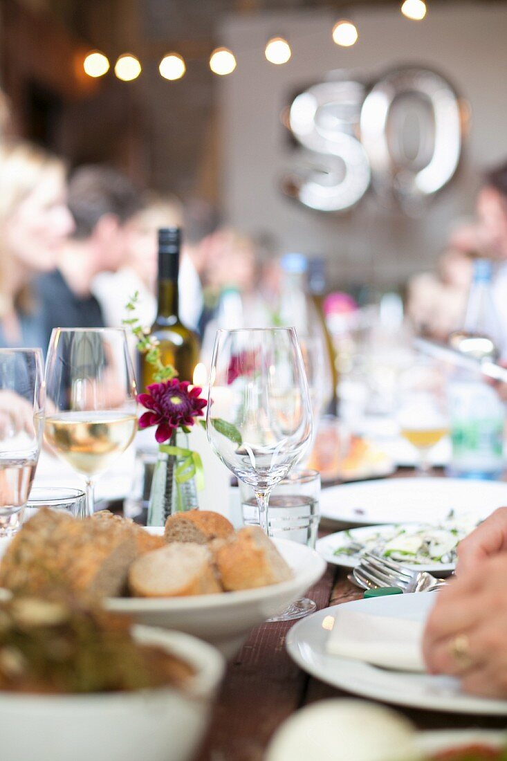 Bread and wine on a party table
