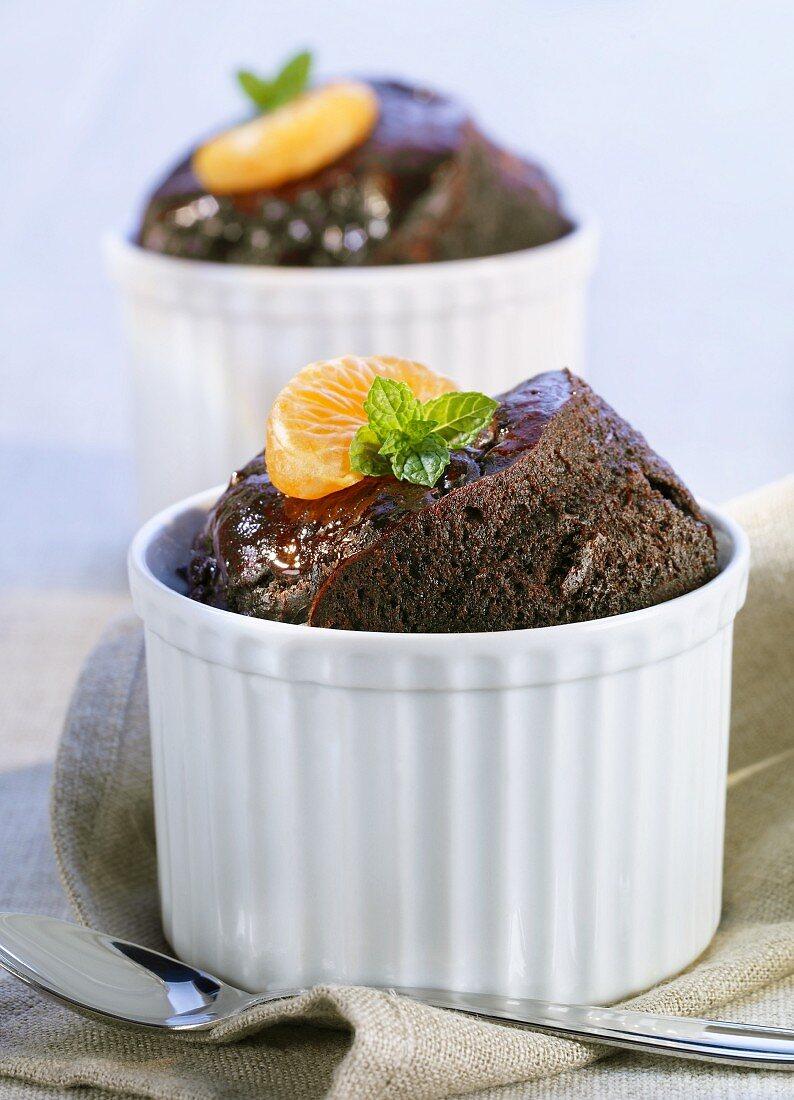 Chocolate and mandarin cakes in souffle ramekins