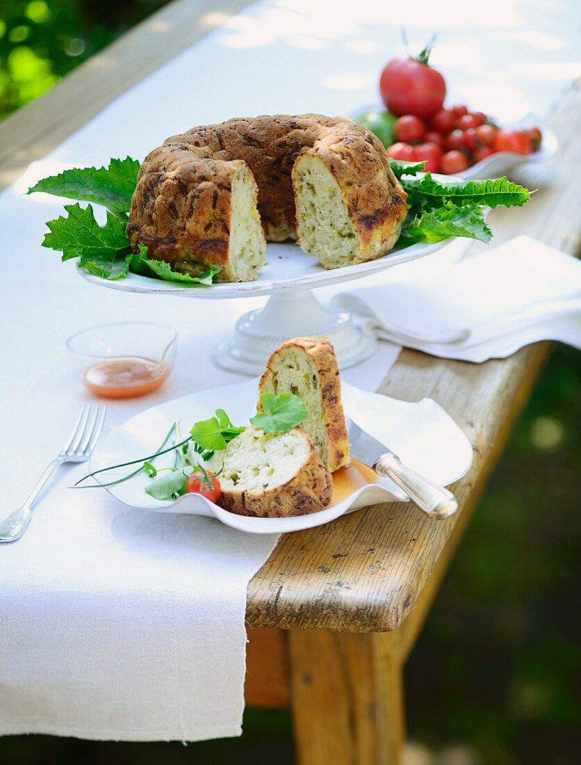 Courgette Bundt cakes on a table outside
