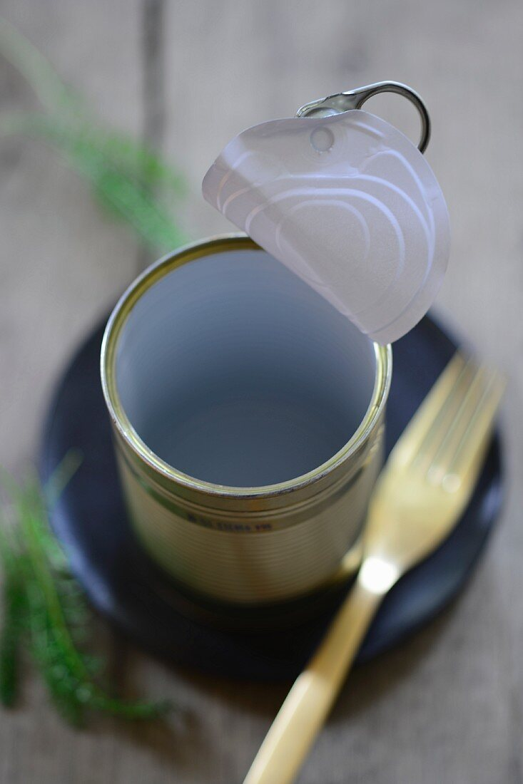 An empty opened tin cake