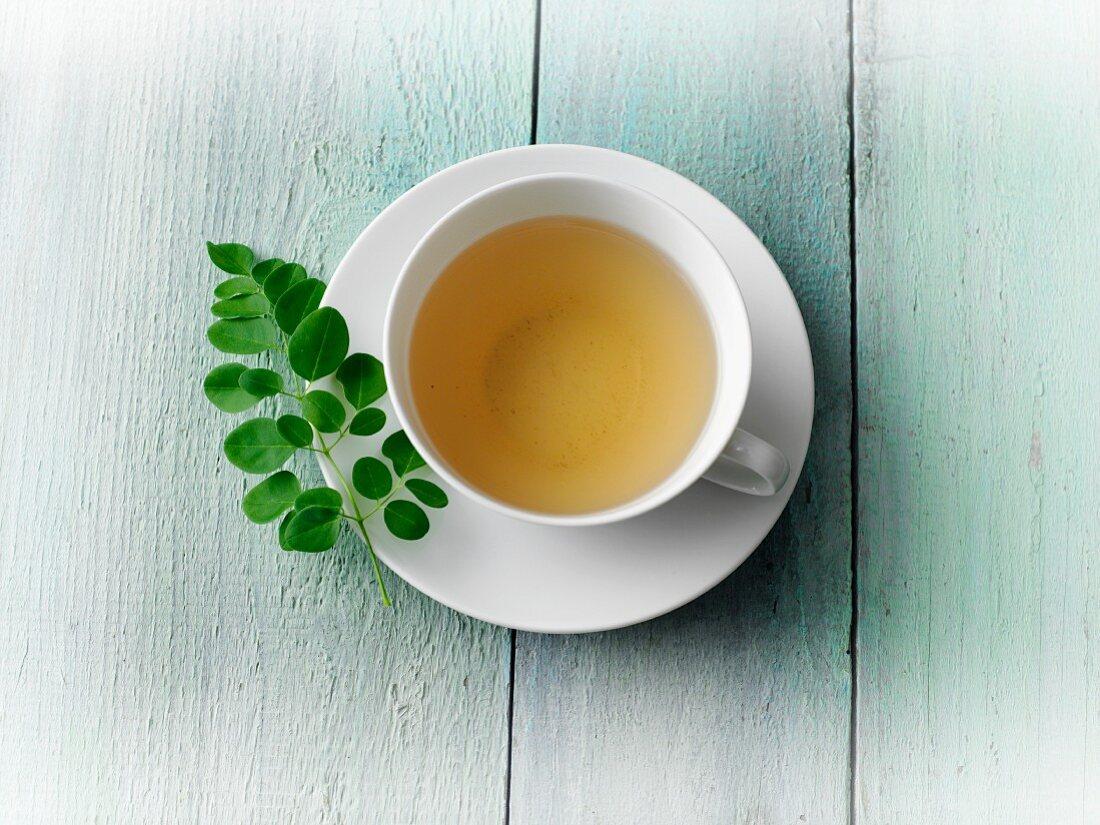 Moringa tea with fresh moringa