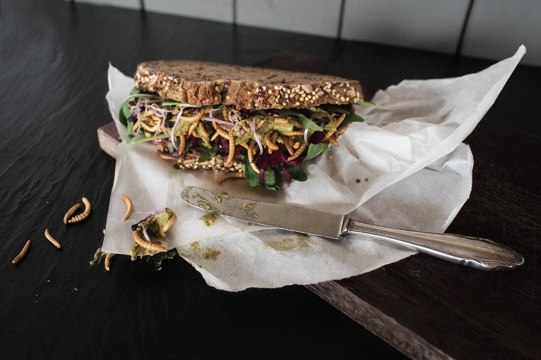 A wholemeal sandwich with vegetables and crisp meal worms