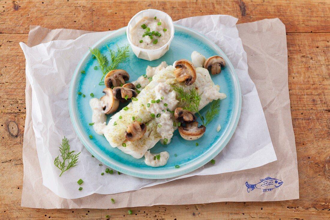 Steamed cod fillet in a mushroom sauce (post Lent)
