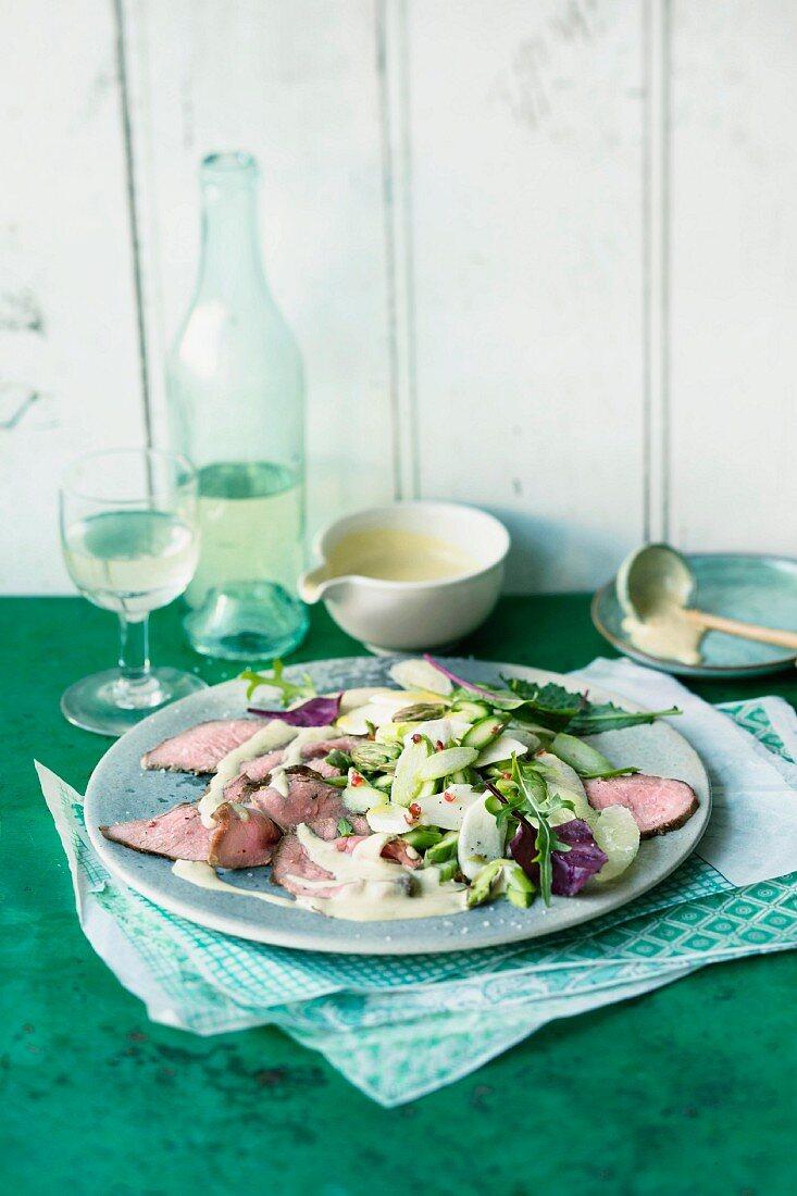 Asparagus vitello with tuna fish and lime sauce