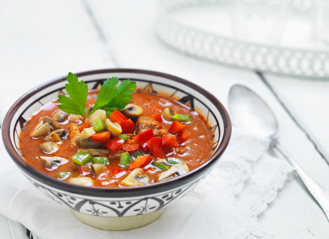 Goulash with mushrooms and diced peppers