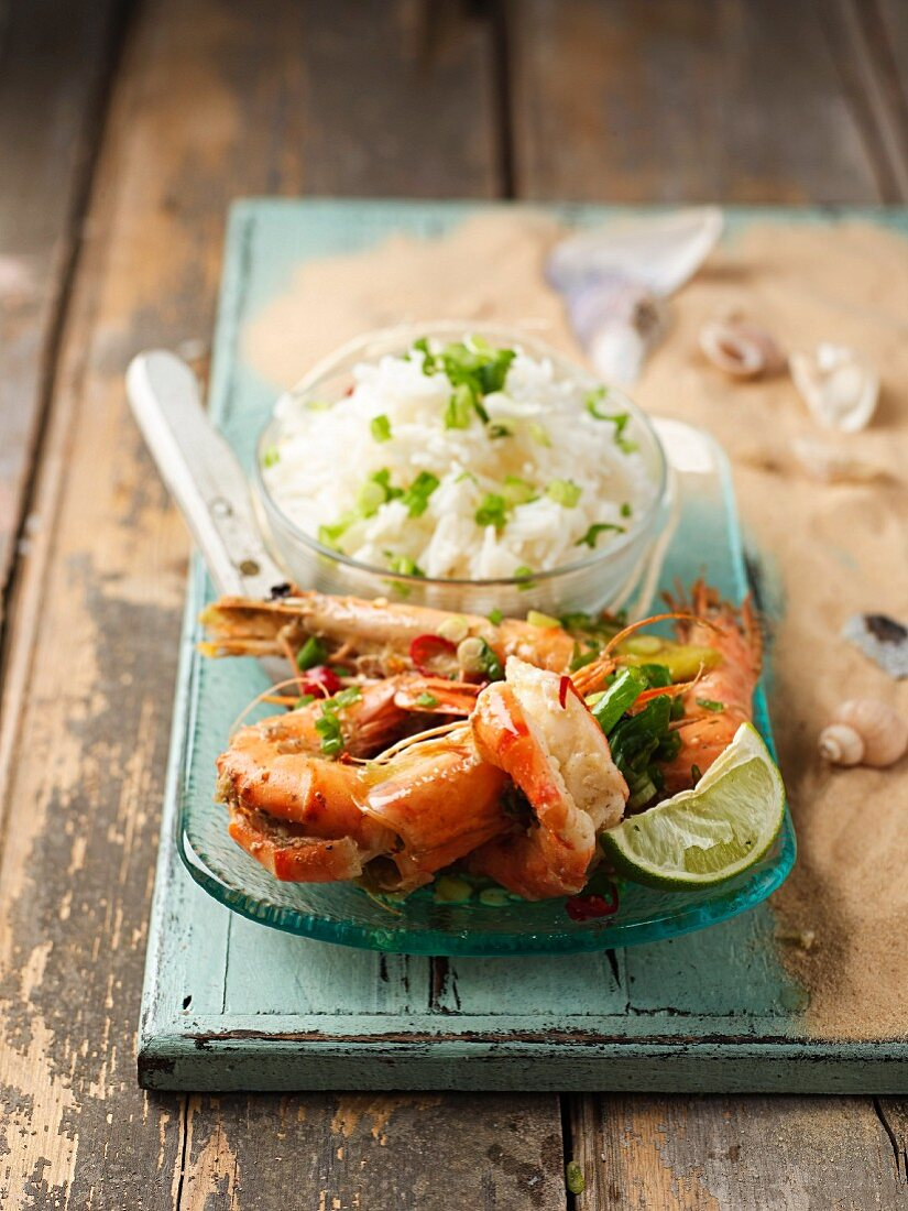 Spicy king prawns with chilli and rice (Mauritius)