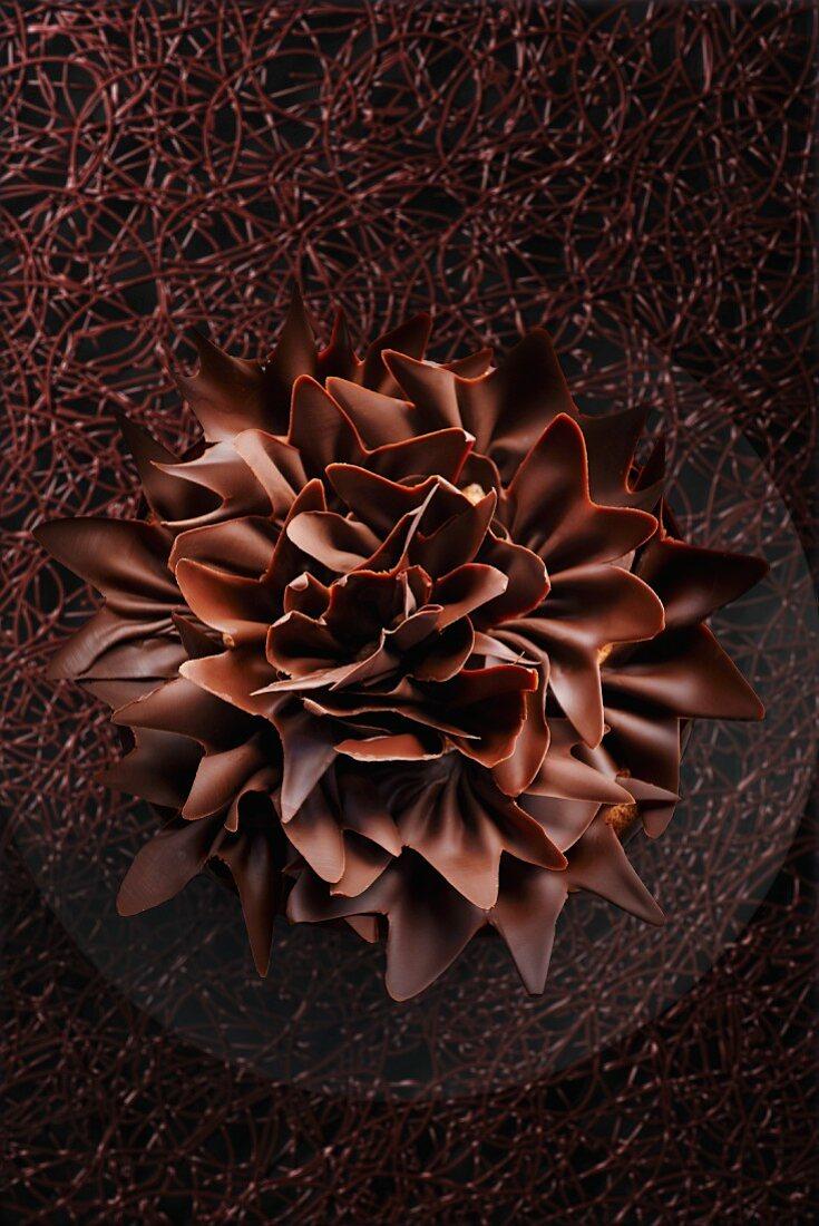 A chocolate flower on chocolate lattice as a cake decoration