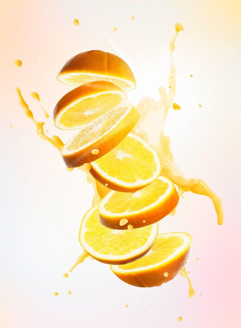 Orange slices with a splash of juice