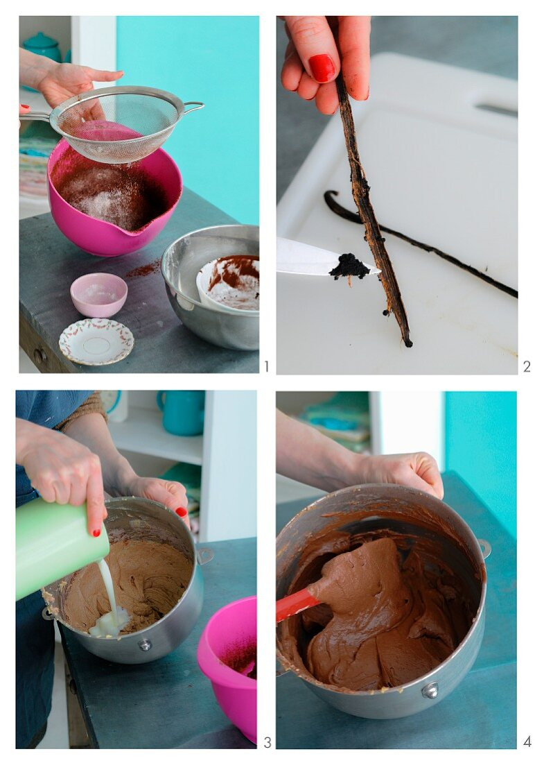 Chocolate cake mixture with vanilla being made