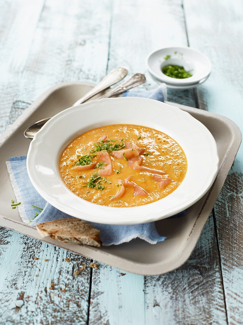 Cream of parsnip soup with smoked salmon