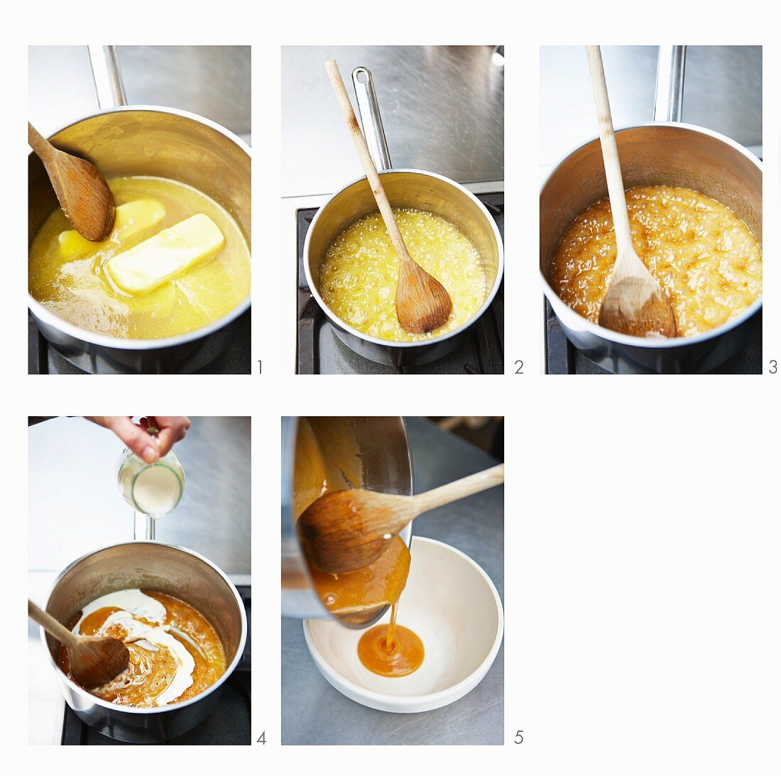 Caramel sauce for toffee ice cream being made