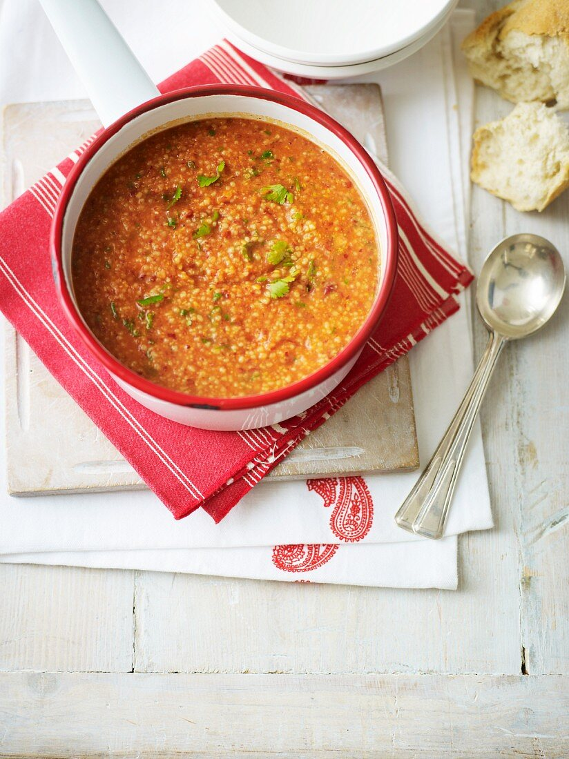 Spicy Moroccan soup with couscous