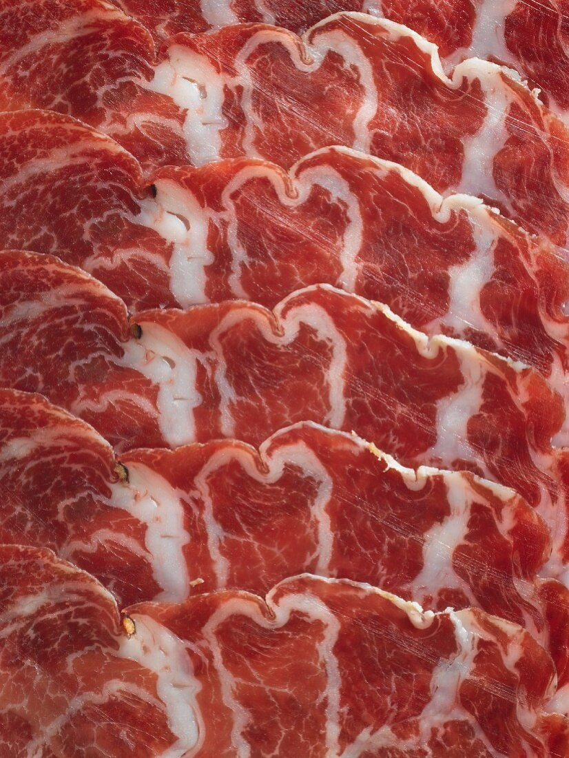 Slices of Coppa (seen from above)