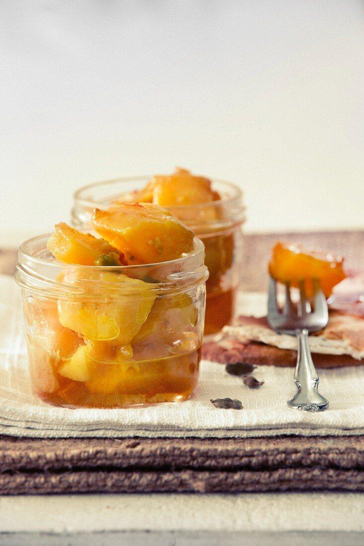 Sweet potato achaar with mustard and cardamom