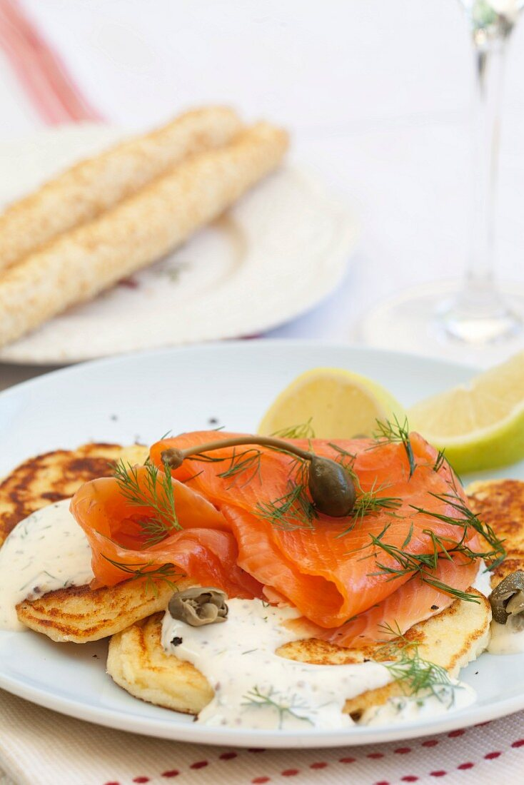 Ricotta pancakes with smoked salmon with a mustard and dill cream