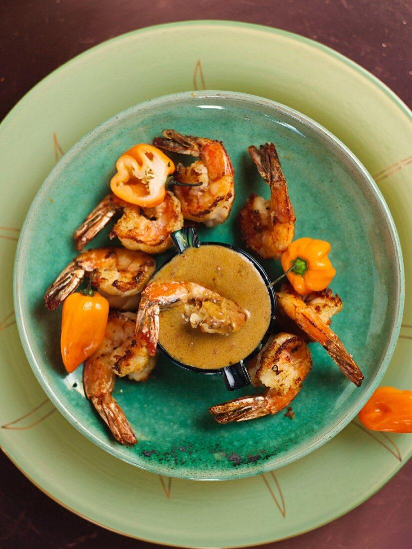 Fried prawns with a peri-peri sauce