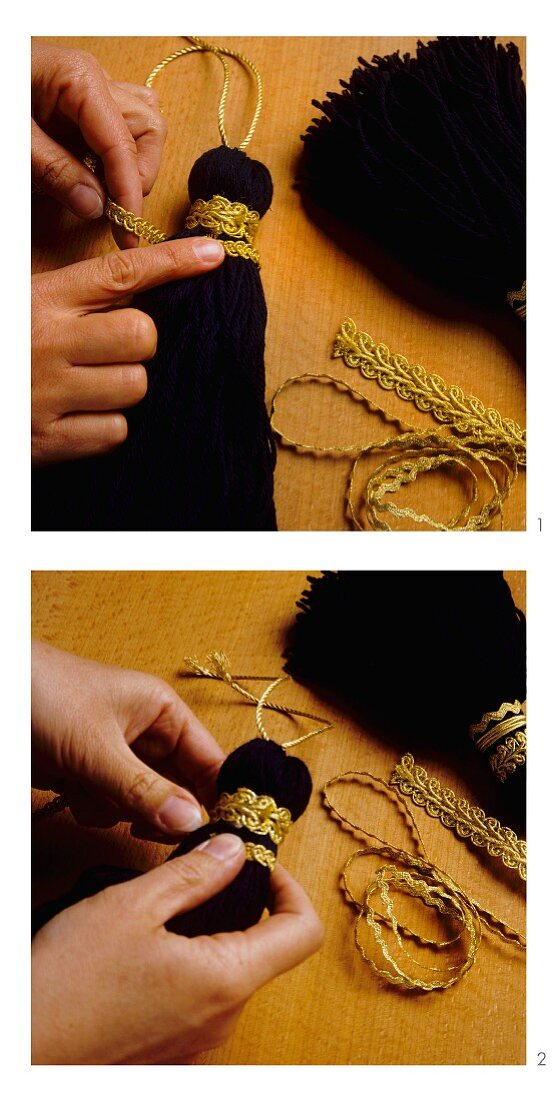 Finishing off tassels with gold braid