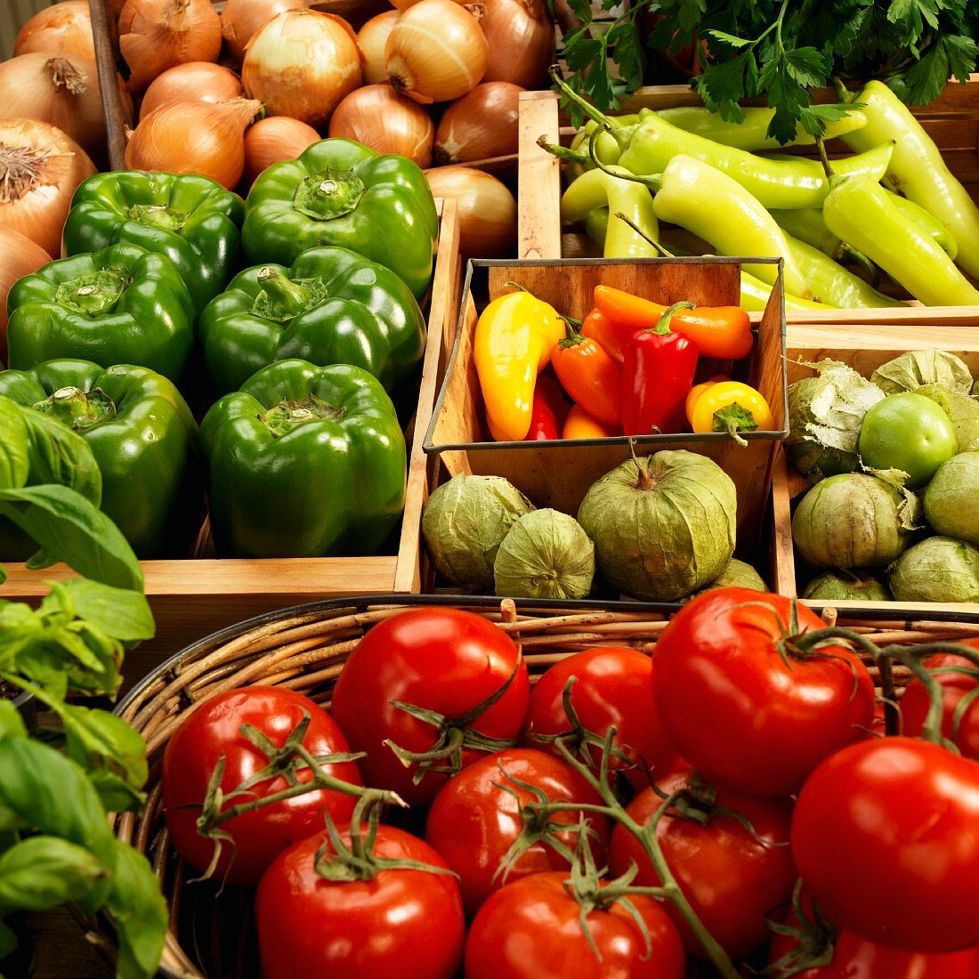 Organic tomatoes, tomatillos, peppers, jalapeños, onions and basil in containers at a farmers market