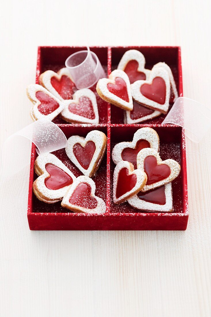 Heart-shaped jammy shortbread biscuits