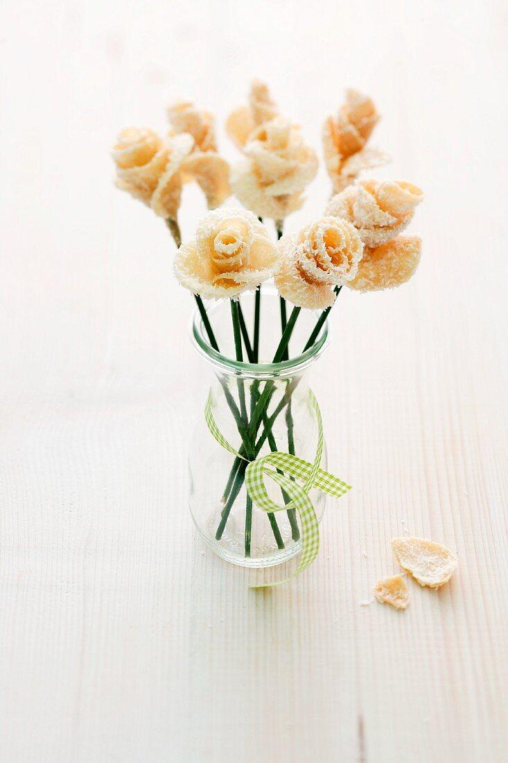 Crispy sugar roses as a birthday present