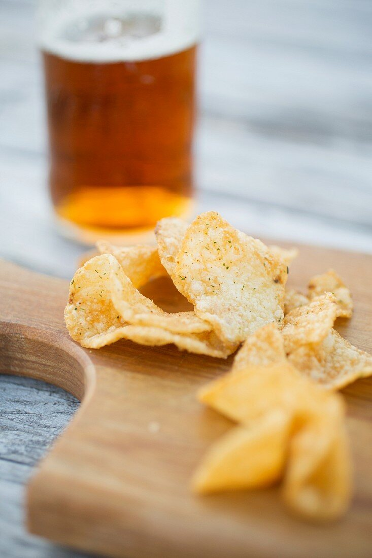 Crisps and a glass of beer