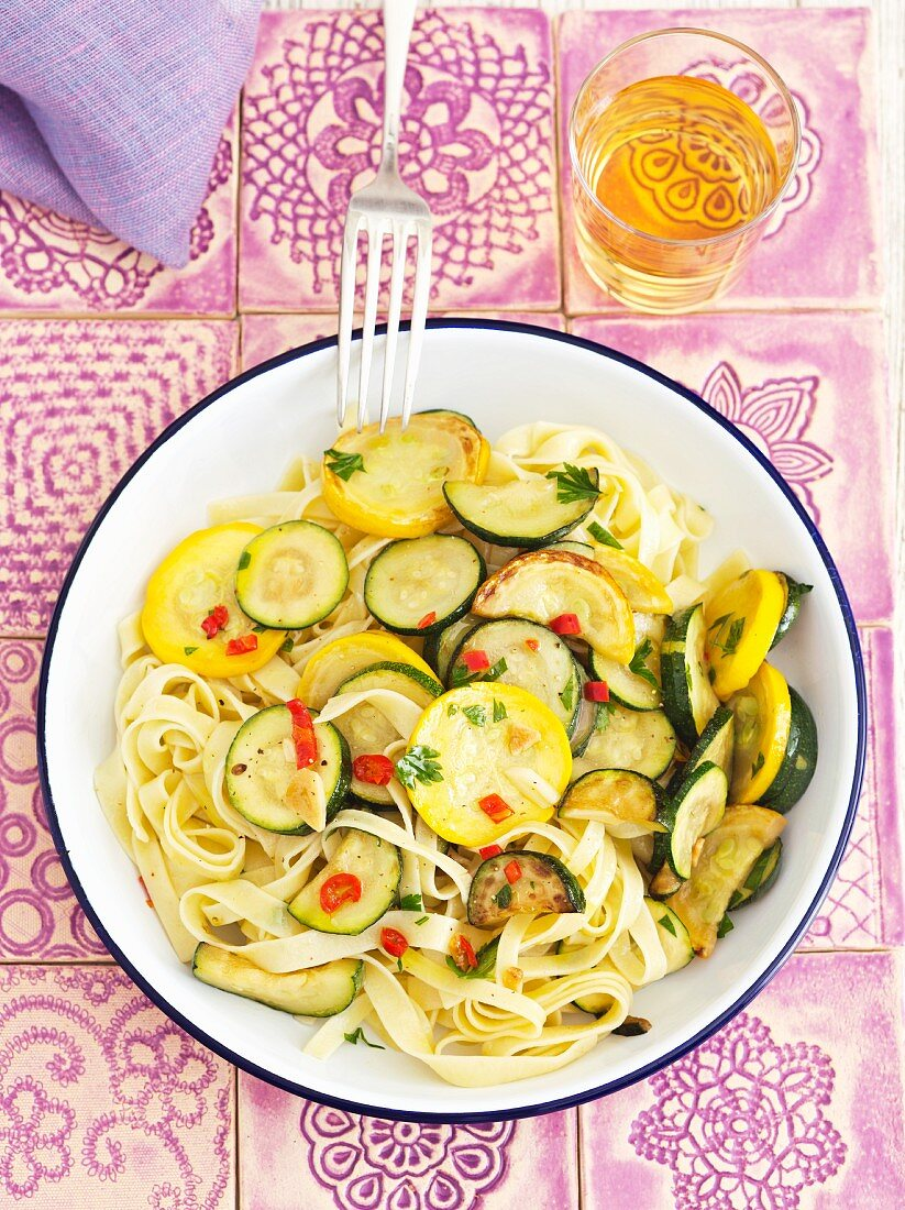 Tagliatelle with courgettes and chilli rings