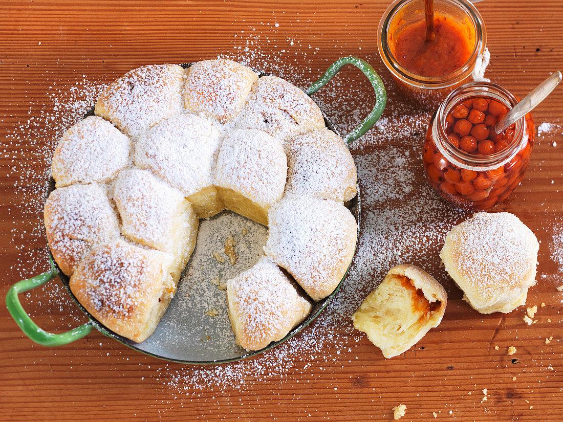 Buchteln (baked, sweet yeast dumplings) with rowanberries