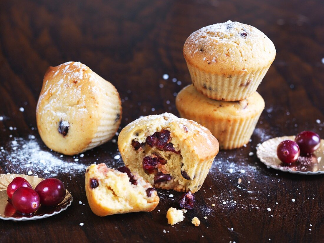 Cranberry muffins dusted with icing sugar