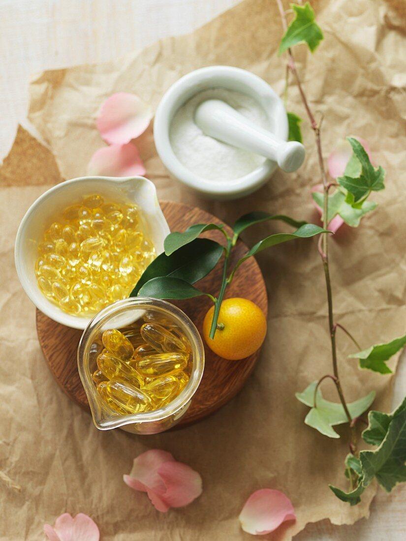 Vitamin E and vitamin C capsules and in powder form