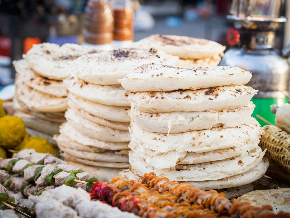 Traditional round coconut bread at a market on Zanzibar