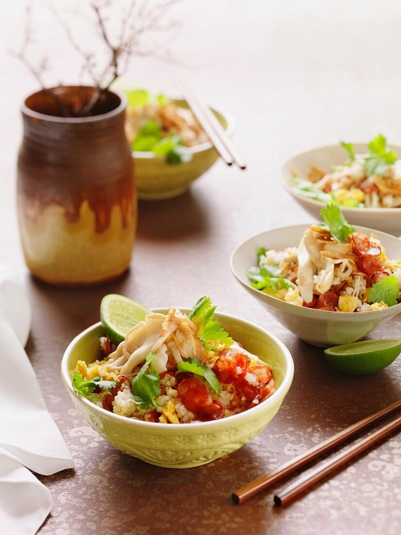 Egg fried rice with sausage (China)
