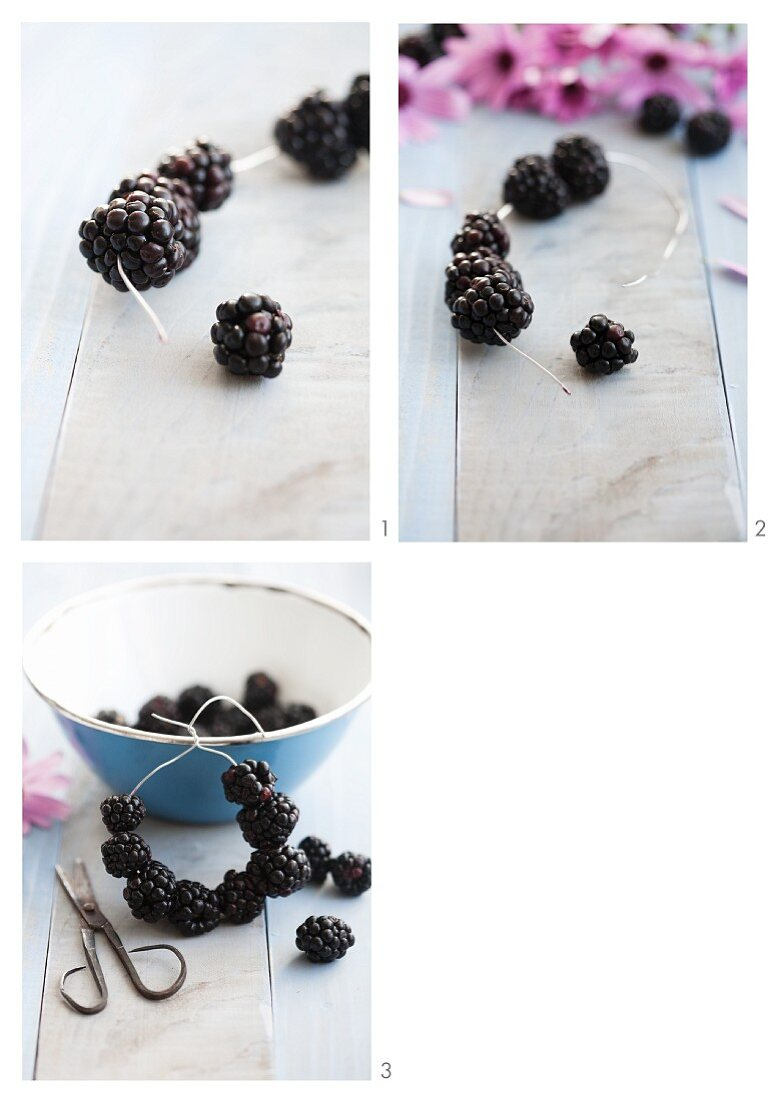 A blackberry napkin ring being made