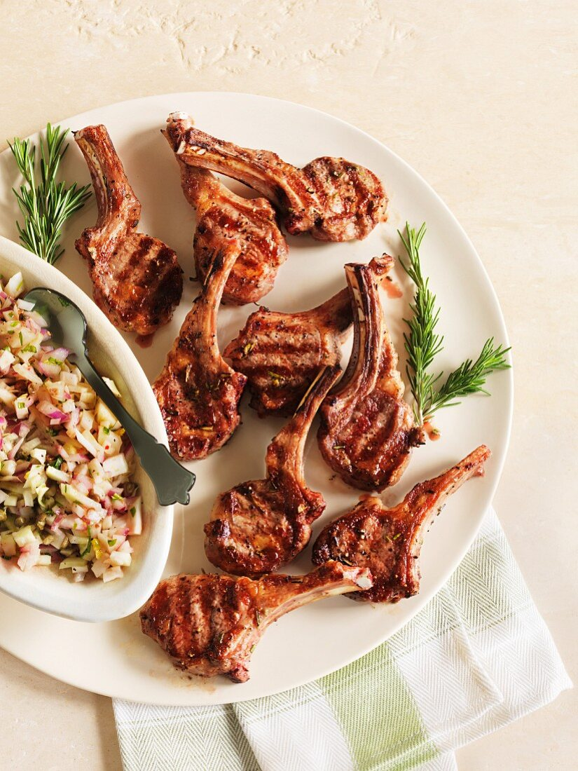 Grilled lamb chops with a side salad