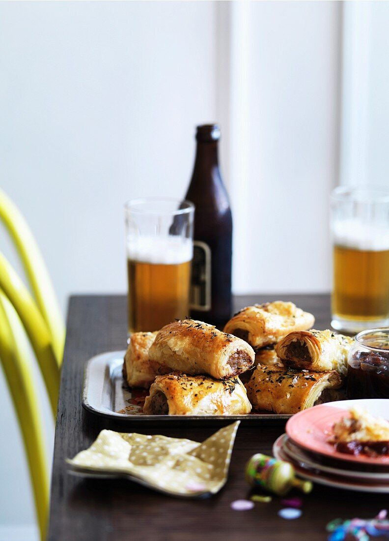 Ppork sausage rolls with caramelised apple and thyme