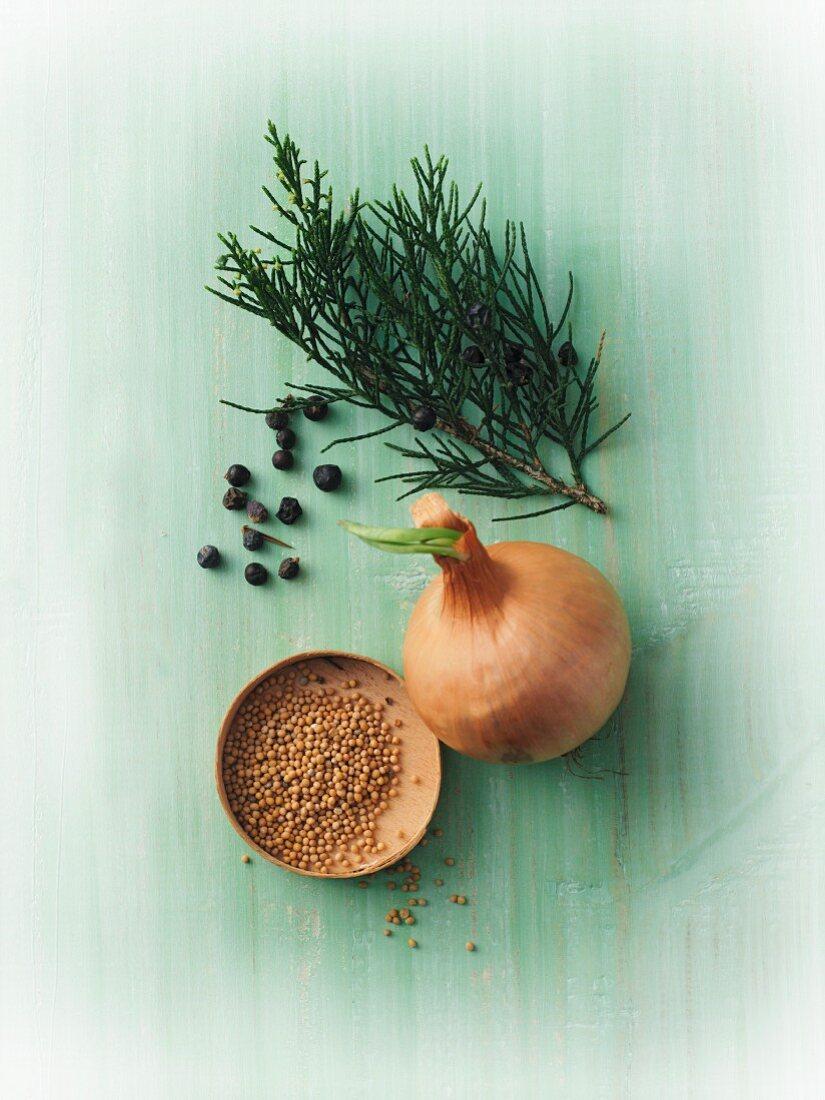 Mustard seeds, onions and juniper berries